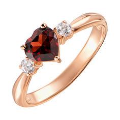 Кольцо из красного золота с гранатом и фианитами 000131341 19 размера от Zlato