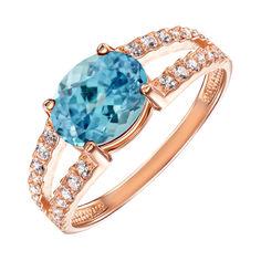 Кольцо из красного золота с голубым топазом и фианитами 000131020 17.5 размера от Zlato