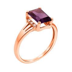 Кольцо из красного золота с аметистом и фианитами 000131305 17.5 размера от Zlato