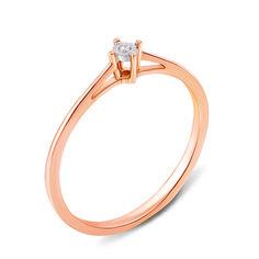 Помолвочное кольцо в комбинированном цвете золота с бриллиантом и алмазной гранью 000131356 16 размера от Zlato