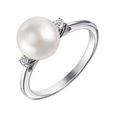 Кольцо из белого золота с жемчугом и бриллиантами 000136538 16 размера от Zlato