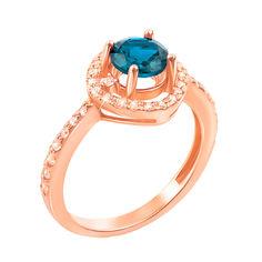 Кольцо из красного золота с голубым топазом и фианитами 000131276 16.5 размера от Zlato