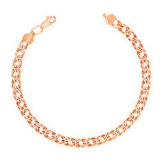 Браслет из красного золота в плетении ромб с алмазной гранью 000131645 17.5 размера от Zlato
