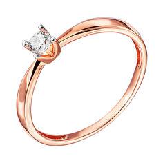 Кольцо з красного золота с бриллиантом и родированием 000138357 16 размера от Zlato