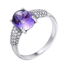 Серебряное кольцо с аметистом и фианитами 000122586 16 размера от Zlato