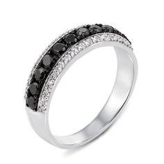 Золотое кольцо в комбинированном цвете  с черными и белыми бриллиантами 000131382 18.5 размера от Zlato