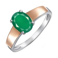 Серебряное кольцо с зеленым агатом и золотыми накладками 000138408 17.5 размера от Zlato