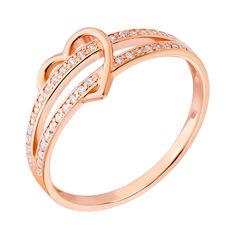 Кольцо из красного золота с сердечком и фианитами 000132185 от Zlato