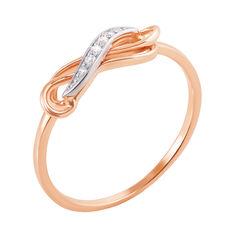 Золотое кольцо Обаятельный узор в комбинированном цвете с фианитами от Zlato
