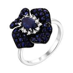 Кольцо в белом цвете золота с сапфирами, бриллиантами и черным родием 000131429 16.5 размера от Zlato