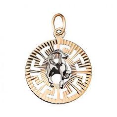 Кулон в комбинированном цвете золота Знак Зодиака Козерог с насечками 000001317 от Zlato