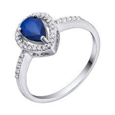 Серебряное кольцо с сапфиром и фианитами 000132679 16.5 размера от Zlato