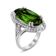 Серебряное кольцо с зеленым кварцем и фианитами 000122584 17.5 размера от Zlato
