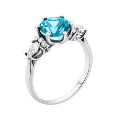 Серебряное кольцо с кварцем swiss blue и фианитами 000132680 16.5 размера от Zlato