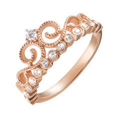 Кольцо-корона из красного золота с фианитами 000126233 16.5 размера от Zlato