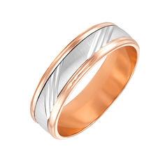 Золотое обручальное кольцо в комбинированном цвете с насечками 000119338 21.5 размера от Zlato