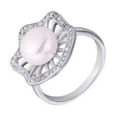Серебряное кольцо с жемчугом и фианитами 000132580 17.5 размера от Zlato