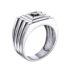 Серебряный перстень-печатка с черным цирконием 000119311 21 размера от Zlato