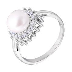 Серебряное кольцо с жемчугом и фианитами 000132659 18.5 размера от Zlato