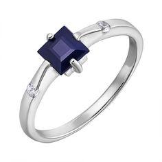 Серебряное кольцо с сапфиром и фианитами 000132486 19 размера от Zlato