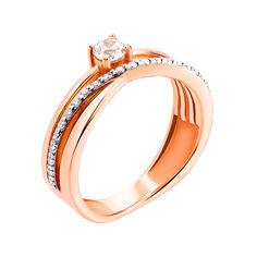 Золотое кольцо в комбинированном цвете с фианитами 000119389 18.5 размера от Zlato