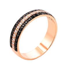 Золотое кольцо Династия в комбинированном цвете с дорожками черных и белых фианитов 18.5 размера от Zlato