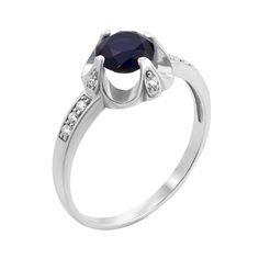 Серебряное кольцо с сапфиром и фианитами 000126654 16 размера от Zlato