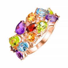 Золотое кольцо с гранатом, топазом, хризолитом, аметистом, цитрином и фианитами 000106123 17.5 размера от Zlato
