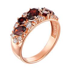 Кольцо из красного золота с гранатами и цирконием 000123445 16 размера от Zlato