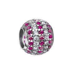 Серебряный шарм с розовыми и белыми фианитами 000116400 от Zlato