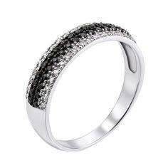 Золотое кольцо Идеаль в белом цвете с дорожками бриллиантов 17 размера от Zlato