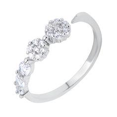 Серебряное разомкнутое кольцо с цирконием 000116361 от Zlato