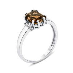 Серебряное кольцо с раухтопазом и фианитами 000133591 16 размера от Zlato