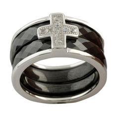 Акция на Серебряное кольцо GS с керамикой (1150306) 19 размер 8.39, 18.5 от Allo UA
