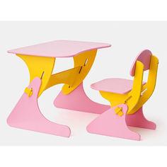 Акция на Растущий Детский письменный стол и стул с регулировкой по высоте, парта для детей от 2 до 7 лет orange-pink от Allo UA