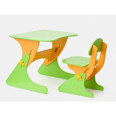 Акция на Растущий Детский письменный стол и стул с регулировкой по высоте, парта для детей от 2 до 7 лет orange-green от Allo UA