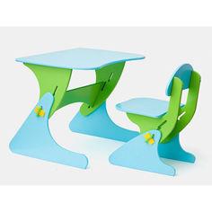 Акция на Растущий Детский письменный стол и стул с регулировкой по высоте, парта для детей от 2 до 7 лет blue-green от Allo UA