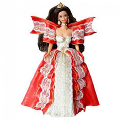 Акция на Коллекционная Кукла Барби Брюнетка Праздничная Счастливого Рождества 1997 года - Barbie Happy Holidays от Allo UA