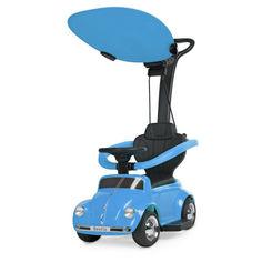 Акция на Детский Электромобиль-Каталка с родительской ручкой Volkswagen Beetle с музыкой, до 20 кг, голубой арт. 618-4* от Allo UA