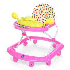 Акция на Детские Музыкальные Ходунки со съемной игровой панелью, подвижным рулем, 3 положения спинки, розовый арт. 2750 от Allo UA