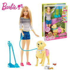 Акция на Кукольный набор с собакой Кукла Барби прогулка со щенком - Barbie Walk and Potty Pup Playset от Allo UA