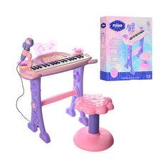 Акция на Детский синтезатор - пианино на ножках со стульчиком, микрофоном, 37 клавиш, со световыми эффектами арт. 6613 от Allo UA