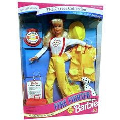 Акция на Коллекционная Кукла Барби Карьера Пожарный, с далматинцем, 1994 год - Career Collection Firefighter Barbie Doll от Allo UA