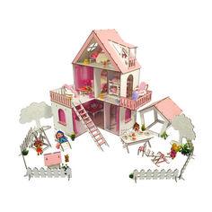Акция на Кукольный Домик ЭКО для кукол ЛОЛ Солнечная Дача + дворик с мебелью и текстилем 40х40х62 см (2113) от Allo UA