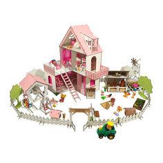 Акция на Кукольный Домик для кукол ЛОЛ Солнечная Дача + дворик с беседкой + ферма мебель, текстиль 40х40х62 см (2127) от Allo UA