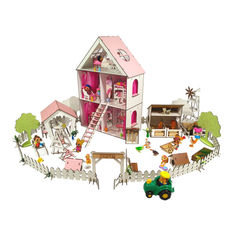 Акция на Кукольный Домик для кукол ЛОЛ + ферма + дворик с мебелью и текстилем LITTLE FUN maxi 40х20х62 см (2125) от Allo UA
