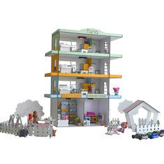 Акция на Кукольный Домик для кукол ЛОЛ Радужная многоэтажка со светом, двориком, мебелью и текстилем 55х20х71 см (2306) от Allo UA