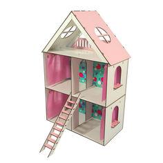 Акция на Кукольный Домик ЭКО для кукол ЛОЛ + обои + шторки LITTLE FUN maxi 40х20х62 см (2105) от Allo UA