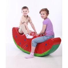 Акция на Детская мягкая спортивная игровая качалка с аппликацией из ПВХ для дома, сада или школы Арбузик 120х25х47 см от Allo UA
