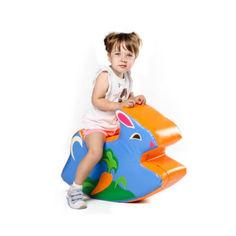 Акция на Детская мягкая игрушка-качалка с вышивкой для одного ребенка для квартиры, детского сада Зайчик 70х50х23 см от Allo UA